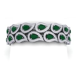 21.6 CTW Royalty Emerald & VS Diamond Bracelet 18K White Gold - REF-818H2W - 39480