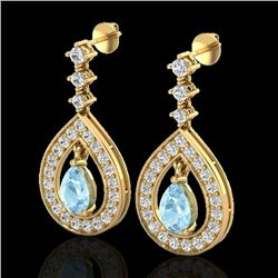 2.25 CTW Aquamarine & Micro Pave VS/SI Diamond Earrings Designer 14K Yellow Gold - REF-103X3T - 2314