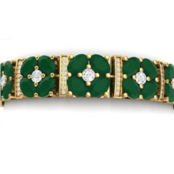 39.78 CTW Royalty Emerald & VS Diamond Bracelet 18K Yellow Gold - REF-636Y4N - 39014