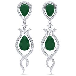 16.57 CTW Royalty Emerald & VS Diamond Earrings 18K White Gold - REF-345F5M - 39510