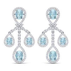 25.94 CTW Royalty Sky Topaz & VS Diamond Earrings 18K White Gold - REF-418N2Y - 38580