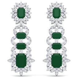 30.25 CTW Royalty Emerald & VS Diamond Earrings 18K White Gold - REF-618Y2N - 39405