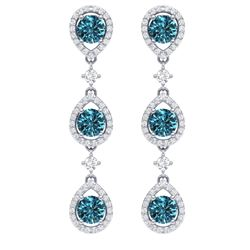 5.28 CTW Royalty Fancy Blue, SI Diamond Earrings 18K White Gold - REF-427Y3N - 39099
