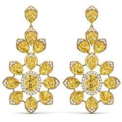 48.67 CTW Royalty Canary Citrine & VS Diamond Earrings 18K Yellow Gold - REF-381N8Y - 39059