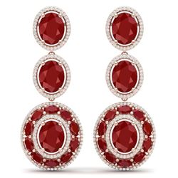 32.84 CTW Royalty Designer Ruby & VS Diamond Earrings 18K Rose Gold - REF-490R9K - 39259