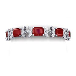 38.13 CTW Royalty Ruby & VS Diamond Bracelet 18K White Gold - REF-490F9M - 39393