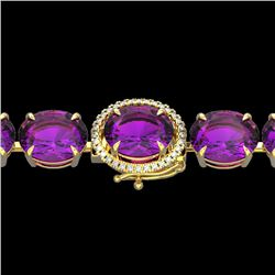 78 CTW Amethyst & Micro Pave VS/SI Diamond Halo Bracelet 14K Yellow Gold - REF-256W8H - 22250