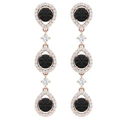 4.7 CTW Certified Black VS Diamond Earrings 18K Rose Gold - REF-209K3R - 39097