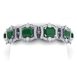 43.87 CTW Royalty Emerald & VS Diamond Bracelet 18K White Gold - REF-836N4Y - 38775