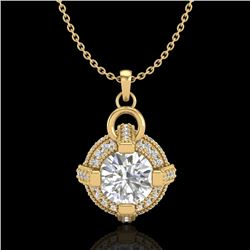 1.57 CTW VS/SI Diamond Micro Pave Stud Necklace 18K Yellow Gold - REF-229R3K - 36955
