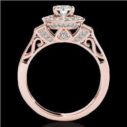 1.75 CTW H-SI/I Certified Diamond Solitaire Halo Ring 10K Rose Gold - REF-223T6X - 34577