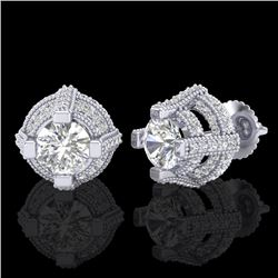 2.75 CTW VS/SI Diamond Micro Pave Stud Earrings 18K White Gold - REF-320W2H - 36950