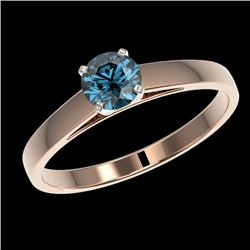 0.56 CTW Certified Intense Blue SI Diamond Solitaire Engagement Ring 10K Rose Gold - REF-60W8H - 364
