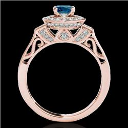 1.5 CTW SI Certified Fancy Blue Diamond Solitaire Halo Ring 10K Rose Gold - REF-180F2M - 34573
