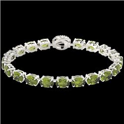 27 CTW Green Tourmaline & VS/SI Diamond Tennis Micro Halo Bracelet 14K White Gold - REF-243N5Y - 234