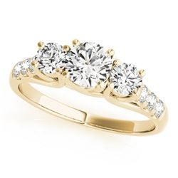 3.25 CTW Certified VS/SI Diamond 3 Stone Bridal Ring 14K Yellow Gold - REF-821Y9N - 25939