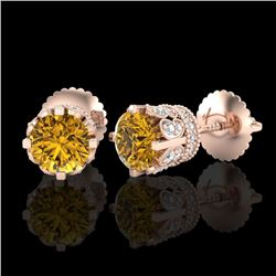 1.75 CTW Intense Fancy Yellow Diamond Art Deco Stud Earrings 18K Rose Gold - REF-172K8R - 37358