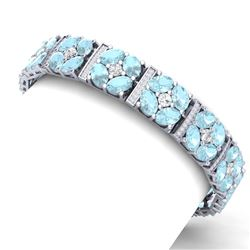 36.08 CTW Royalty Sky Topaz & VS Diamond Bracelet 18K White Gold - REF-536R4K - 39024