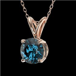 0.75 CTW Certified Intense Blue SI Diamond Solitaire Necklace 10K Rose Gold - REF-100M2F - 33179