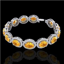 24 CTW Citrine & Micro Pave VS/SI Diamond Certified Bracelet 10K White Gold - REF-360H2W - 22683