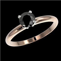 0.75 CTW Fancy Black VS Diamond Solitaire Engagement Ring 10K Rose Gold - REF-28W5H - 32878