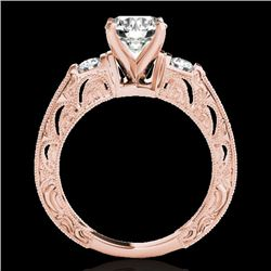 1.63 CTW H-SI/I Certified Diamond Solitaire Antique Ring 10K Rose Gold - REF-218Y2N - 34649
