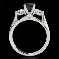 1.75 CTW Certified Vs Black Diamond 3 Stone Ring 10K White Gold - REF-96N5Y - 35379
