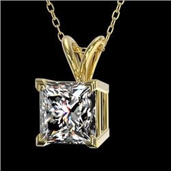 1.25 CTW Certified VS/SI Quality Princess Diamond Necklace 10K Yellow Gold - REF-367K3R - 33216