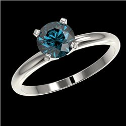 1.03 CTW Certified Intense Blue SI Diamond Solitaire Engagement Ring 10K White Gold - REF-136M4F - 3