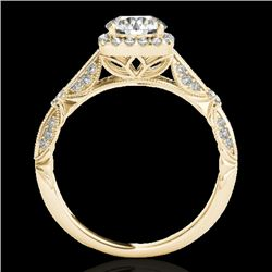 1.36 CTW H-SI/I Certified Diamond Solitaire Halo Ring 10K Yellow Gold - REF-161X8T - 33753