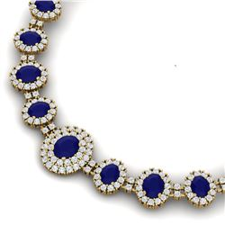 45.69 CTW Royalty Sapphire & VS Diamond Necklace 18K Yellow Gold - REF-1581R8K - 38798