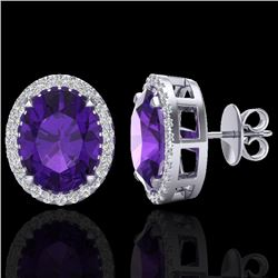 5.50 CTW Amethyst & Micro VS/SI Diamond Halo Earbridal Ring 18K White Gold - REF-63Y3N - 20237