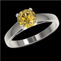 1.29 CTW Certified Intense Yellow SI Diamond Solitaire Ring 10K White Gold - REF-231F8M - 36543
