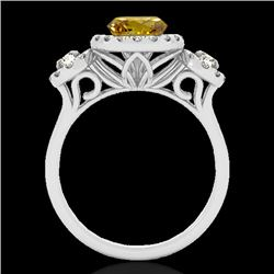 1.75 CTW Certified Si Fancy Intense Yellow Diamond Solitaire Halo Ring 10K White Gold - REF-180W2H -