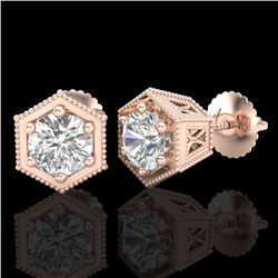 1.15 CTW VS/SI Diamond Solitaire Art Deco Stud Earrings 18K Rose Gold - REF-174Y5N - 37218