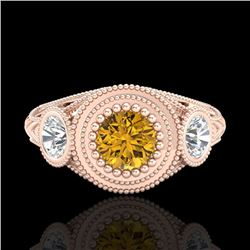 1.06 CTW Intense Fancy Yellow Diamond Art Deco 3 Stone Ring 18K Rose Gold - REF-154W5H - 37498