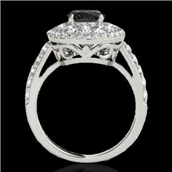 2.09 CTW Certified Vs Black Diamond Solitaire Halo Ring 10K White Gold - REF-112M9F - 33691