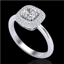 1.16 CTW Micro Si Cushion Diamond Engagement Ring Solitaire Halo 18K White Gold - REF-149N5Y - 21031