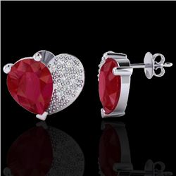 2.50 CTW Ruby & Micro Pave VS/SI Diamond Certified Earrings 10K White Gold - REF-33H8W - 20077