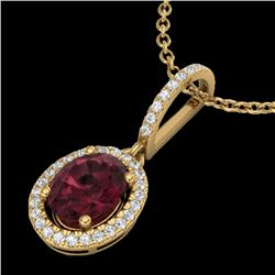 2 CTW Garnet & Micro Pave VS/SI Diamond Necklace Solitaire Halo 18K Yellow Gold - REF-58W2H - 20662