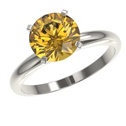 2.50 CTW Certified Intense Yellow SI Diamond Solitaire Ring 10K White Gold - REF-608H5W - 32950