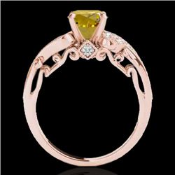 1.5 CTW Certified Si Intense Yellow Diamond Solitaire Antique Ring 10K Rose Gold - REF-262F8M - 3480
