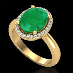 3 CTW Emerald & Micro Pave VS/SI Diamond Certified Ring Halo 18K Yellow Gold - REF-64M9F - 21104