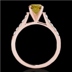 1.45 CTW Certified Si Fancy Intense Yellow Diamond Solitaire Ring 10K Rose Gold - REF-163Y5N - 34987