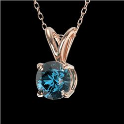 0.53 CTW Certified Intense Blue SI Diamond Solitaire Necklace 10K Rose Gold - REF-61F8M - 36729