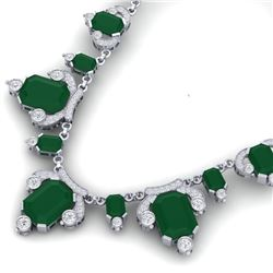 75.21 CTW Royalty Emerald & VS Diamond Necklace 18K White Gold - REF-1363N6Y - 38745
