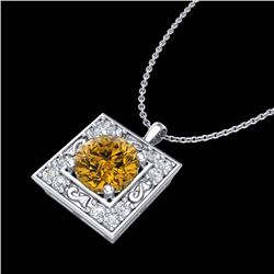 1.02 CTW Intense Fancy Yellow Diamond Art Deco Stud Necklace 18K White Gold - REF-130R9K - 38169