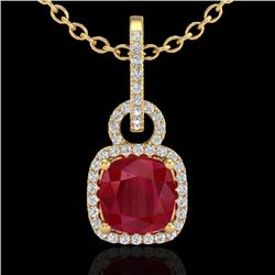 3 CTW Ruby & Micro VS/SI Diamond Certified Necklace 18K Yellow Gold - REF-74T2X - 22989