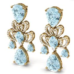 60.32 CTW Royalty Sky Topaz & VS Diamond Earrings 18K Yellow Gold - REF-400W2H - 38681