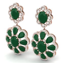 33.88 CTW Royalty Emerald & VS Diamond Earrings 18K Rose Gold - REF-472R8K - 39154